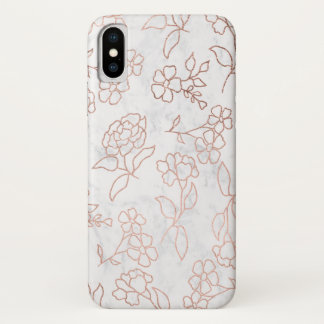 Rose gold floral pattern hand drawn white marble iPhone x case