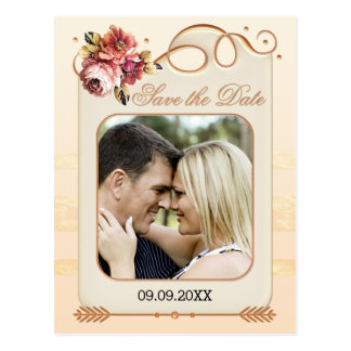 Rose Gold Floral Photo Save the Date Postcard
