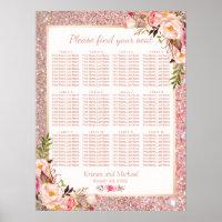 Rose Gold Floral Wedding Seating Plan Chart
