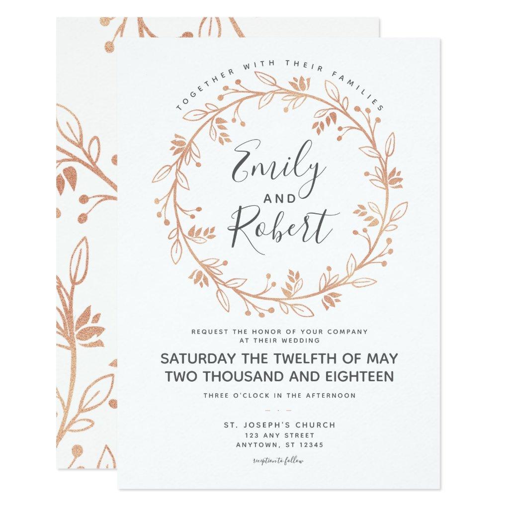 Rose Gold Floral Wreath Modern Wedding Invitation