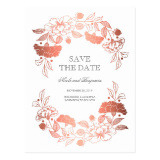 Rose Gold Floral Wreath | Peonies Save the Date Postcard