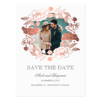 Rose Gold Floral Wreath Photo Save the Date Postcard