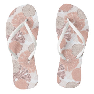 Rose Gold Flower Pattern Flip Flops
