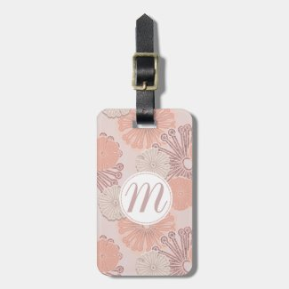 Rose Gold Flower Pattern & Monogram Luggage Tag