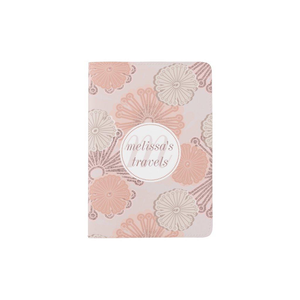 Rose Gold Flower Pattern & Monogram Passport Holder