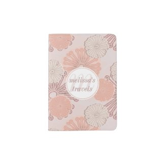 Rose Gold Flower Pattern & Monogram Passport Holder