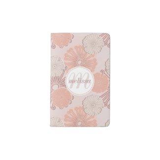 Rose Gold Flower Pattern & Monogram Pocket Moleskine Notebook
