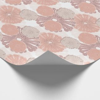 Rose Gold Flower Pattern Wrapping Paper