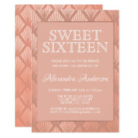Rose Gold Foil Art Deco Sweet Sixteen Invitation