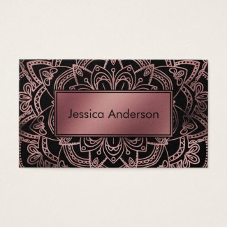 Rose Gold Foil Badge over Mandala and Black Business Cards