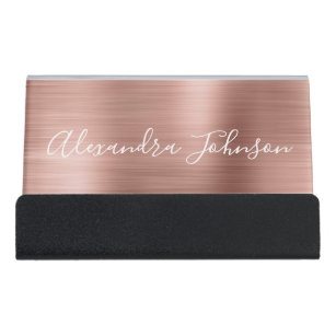 Hair stylist business card holders zazzle rose gold foil blush pink foil modern desk business card holder colourmoves