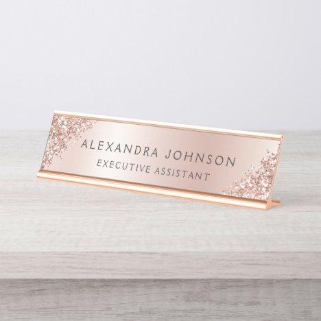 Rose Gold Foil   Blush Pink Foil Modern Desk Name Plate