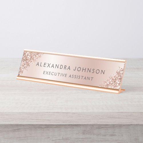 Rose Gold Foil | Blush Pink Foil Modern Desk Name Plate