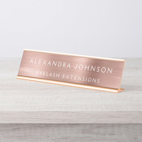 Rose Gold Foil | Blush Pink Foil Modern Desk Name Plate