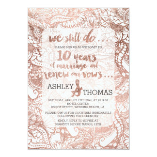 Rose gold foil boho floral hand drawn vow renewal card