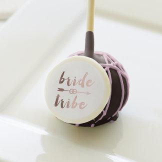 rose gold foil bride tribe arrow wedding rings cake pops