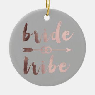 rose gold foil bride tribe arrow wedding rings ceramic ornament
