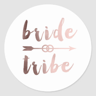 rose gold foil bride tribe arrow wedding rings classic round sticker