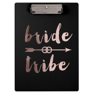 rose gold foil bride tribe arrow wedding rings clipboard