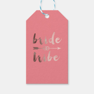 rose gold foil bride tribe arrow wedding rings gift tags