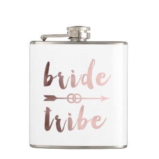 rose gold foil bride tribe arrow wedding rings hip flask