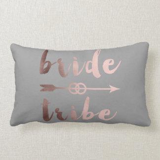 rose gold foil bride tribe arrow wedding rings lumbar pillow