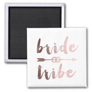 rose gold foil bride tribe arrow wedding rings magnet