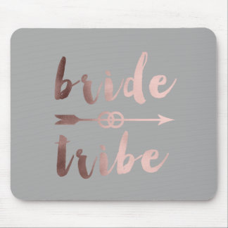 rose gold foil bride tribe arrow wedding rings mouse pad