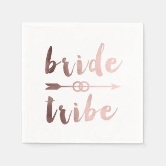 rose gold foil bride tribe arrow wedding rings napkin