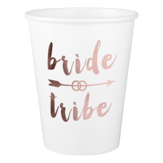 rose gold foil bride tribe arrow wedding rings paper cup