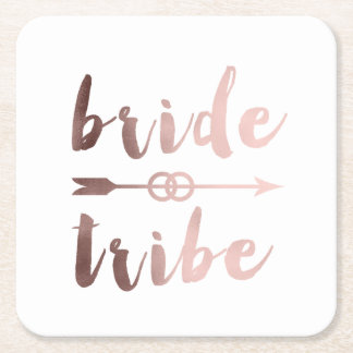 rose gold foil bride tribe arrow wedding rings square paper coaster