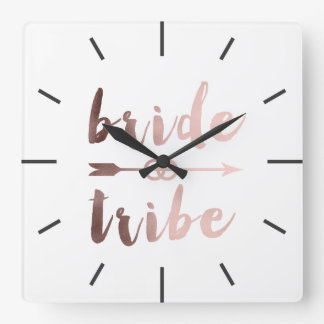 rose gold foil bride tribe arrow wedding rings square wall clock