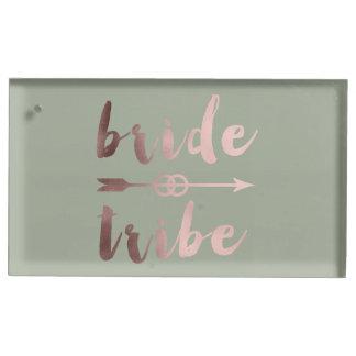 rose gold foil bride tribe arrow wedding rings table card holder