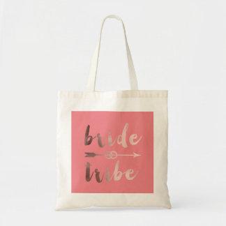 rose gold foil bride tribe arrow wedding rings tote bag