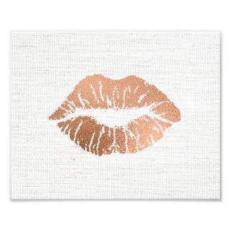 Rose Gold Foil-effect Luscious Lips Wedding Photo Print