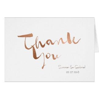 Rose Gold Foil-Effect Wedding Thank You Card