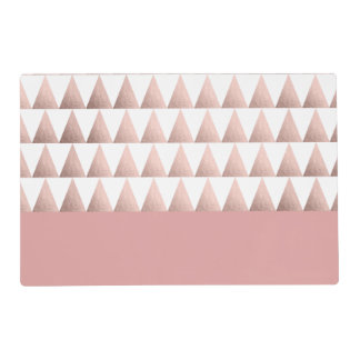 rose gold foil geometric triangles pattern placemat