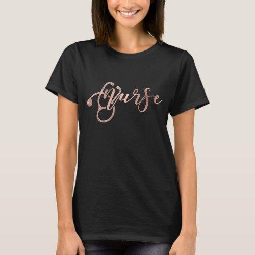 Rose Gold Foil Glitter Look Nurse Nursing T_Shirt