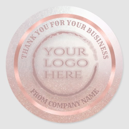 Rose gold foil glittery thank custom logo classic round sticker