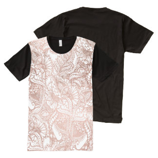 Rose gold foil hand drawn floral pattern girly All-Over-Print shirt