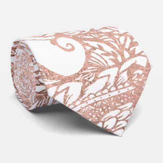 Rose gold foil hand drawn floral pattern girly neck tie