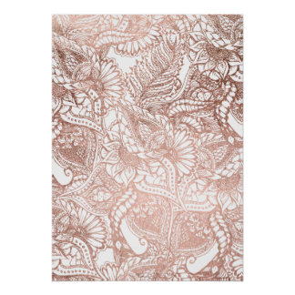 Rose gold foil hand drawn floral pattern girly poster