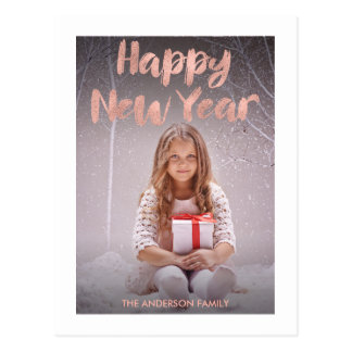 Rose Gold Foil Happy New Year's Photo Postcard