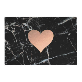 rose gold foil heart on black marble placemat