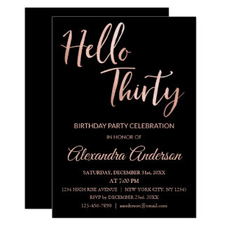 Rose Gold Foil Hello 30 Thirty Birthday Party Card