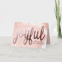 Rose Gold Foil Joyful design Holiday Card