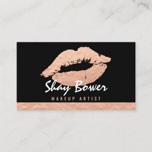 Rose Gold Foil Look Makeup Artist Business Card