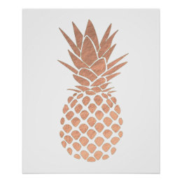 rose gold foil look pineapple poster