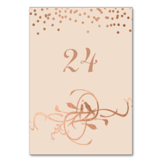 Rose Gold Foil Love Birds Table Numbers Card