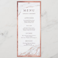 Rose gold foil marble luxury modern wedding menu